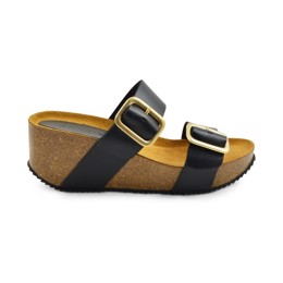 Adele Wedge Cork Sandal black