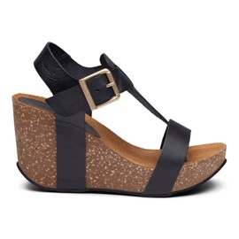 Ane High Cork Sandal Black Leather
