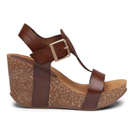 Ane High Cork Sandal Cognac Leather