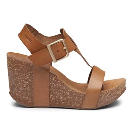 Ane High Cork Sandal Light Tan Leather