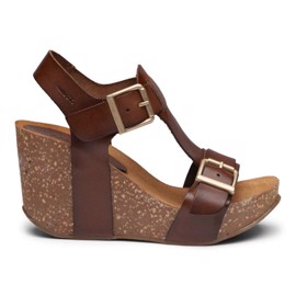 Laura High Cork Sandal Cognac Leather