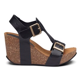Laura High Cork Sandal Black Leather