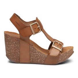 Laura High Cork Sandal Light Tan Leather