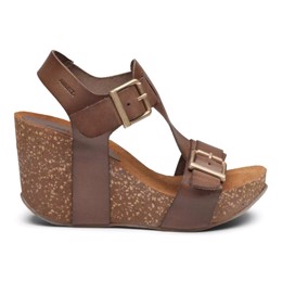 Laura High Cork Sandal Taupe Leather