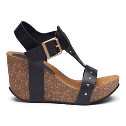 Michelle High Cork Sandal Black Leather