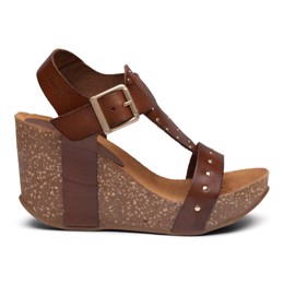 Michelle High Cork Sandal Cognac Leather