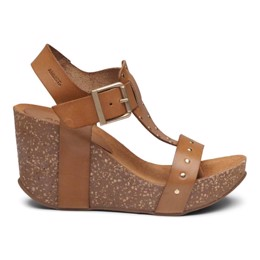 Michelle High Cork Sandal Light Tan Leather