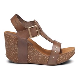 Michelle High Cork Sandal Taupe Leather